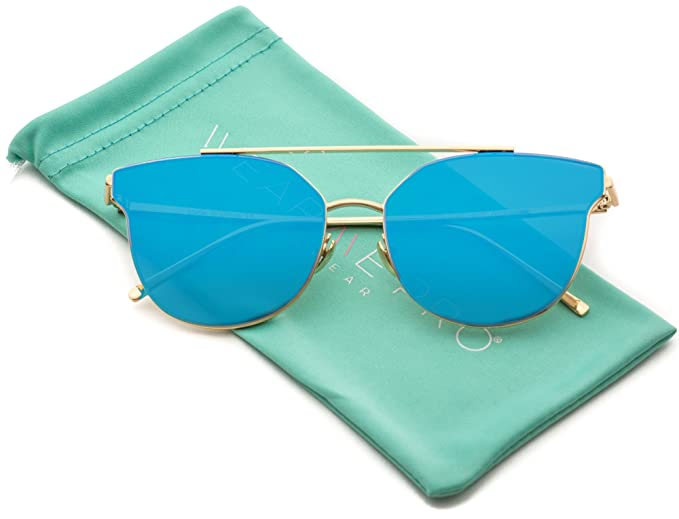 608316c435509 Image Unavailable. Image not available for. Color  WearMe Pro - Trendy Flat  Lens Metal Frame Mirrored Lens Sunglasses for Women