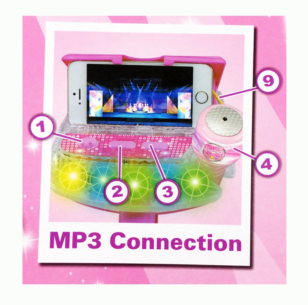 Kids Karaoke Sing Along Stage Microphone - Flashing Lights with Auxiliary Cable to Connect to Your Mp3 & Smart Devices - Adjustable Mic Stand by MTT (Image #2)