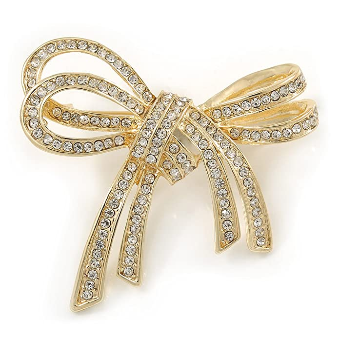 Avalaya Rose Gold Tone Metal Clear Crystal Bow Brooch - 50mm W IsZh7Z