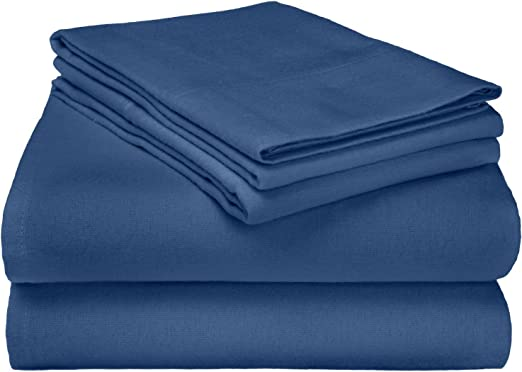 Amazon Com Superior Premium Cotton Flannel Sheets All Season 100 Brushed Cotton Flannel Bedding 4 Piece Sheet Set With Deep Fitting Pockets Navy Blue Solid Queen Bed Home Kitchen