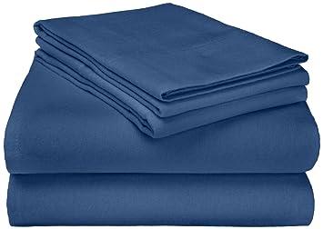 Superior - Juego de sábanas de franela 152 x 203 cm, de algodón, color azul marino liso: Amazon.es: Hogar