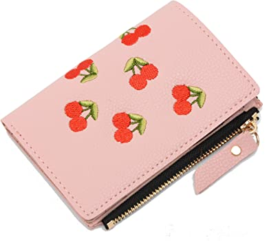 Mini Wallet Women Girls Lady Cherry Pattern Button Zipper Coin Money Bag Clutch