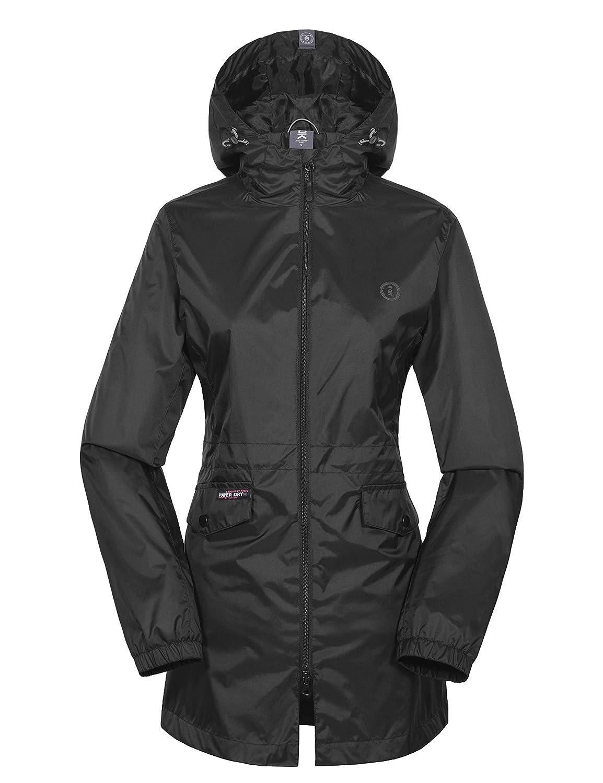 Black Little Donkey Andy Women's Long Lined Rain Jackets Waterproof with Hood