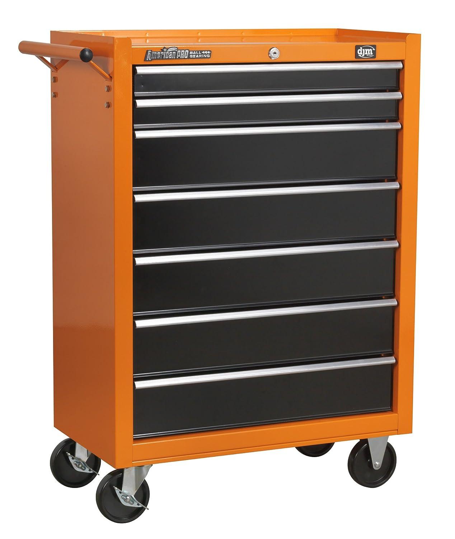 DJM American Pro 7 Drawer Orange & Black Roll Cab Roller Cabinet ...