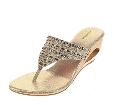 ee1ae45455b7d Khadims Women Gold Faux Leather Sandal  Buy Online at Low Prices in India -  Amazon.in