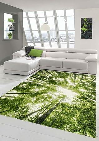 Designer und Moderner Teppich Kurzflor Wohnzimmer Teppich Wald in ...
