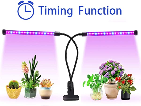 Amazon Com Aitere 18w Timer Grow Lights For Indoor Plants Grow Lamps For Seedlings Dual Head 36 Led Chips With Red Blue Spectrum Adjustable Gooseneck 3 6 12h Timer 5 Dimmable Levels Red Blue Garden
