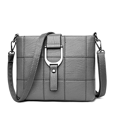 c2adef6fb5d6 Amazon.com  2018 Luxury Plaid Handbags Women Messenger Bags Designer Brand Female  Crossbody Shoulder Bags For Women Leather PU Ladies Bag (Grey color)  ...