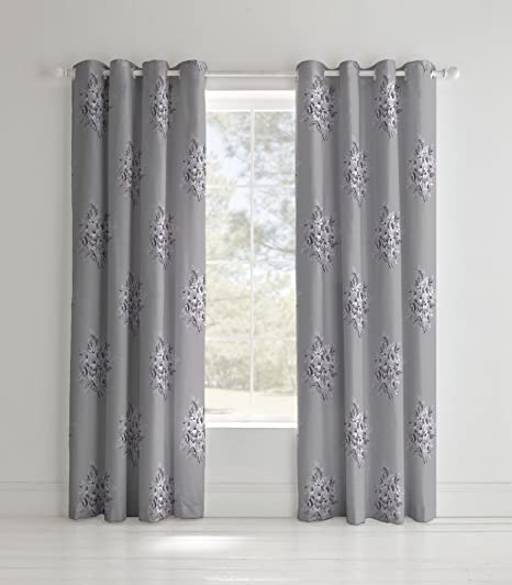 Catherine Lansfield Floral Bouquet Easy Care Eyelet Curtains Grey