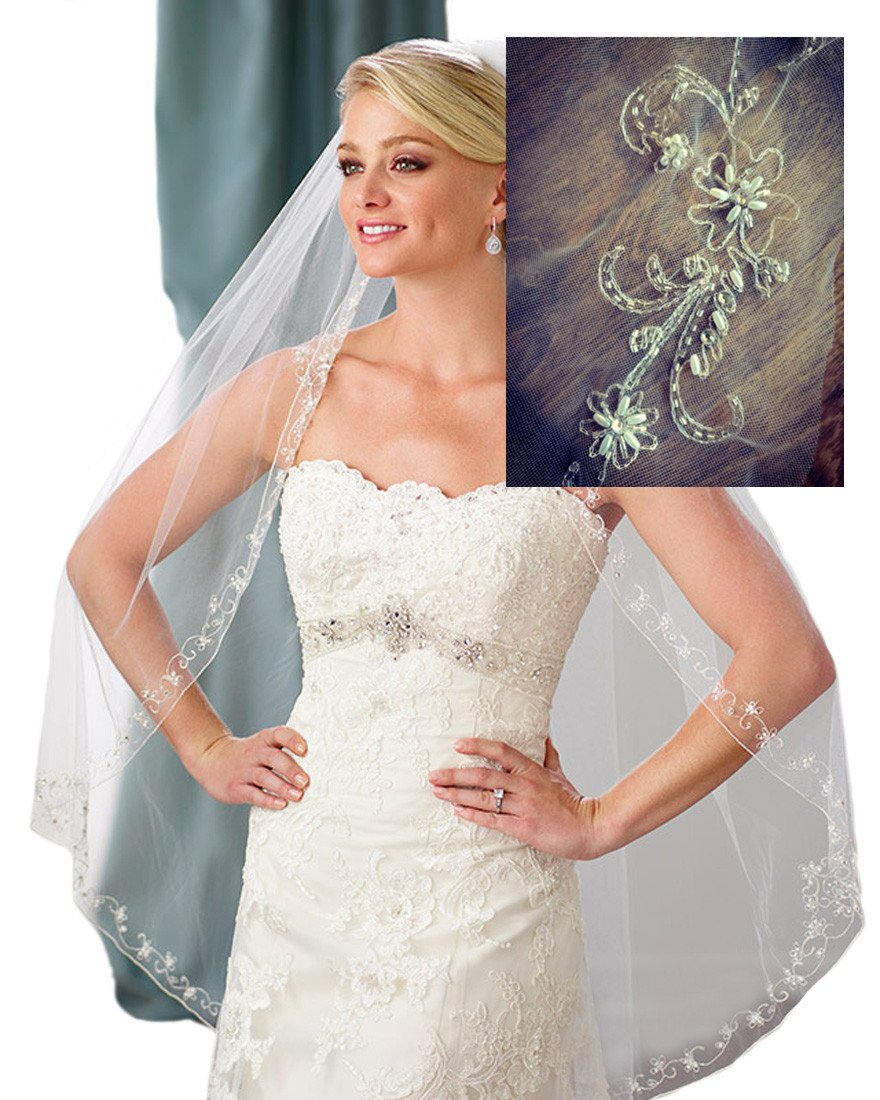 Gogh White ONE TIER Fingertip Scrolled Scallop-Edge Crystals Wedding Veil Diamonds 118