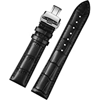 Genuine Leather Watch Band Replacement Watch Strap Wristband Black Brown 12mm-24mm Full Size for Men Women