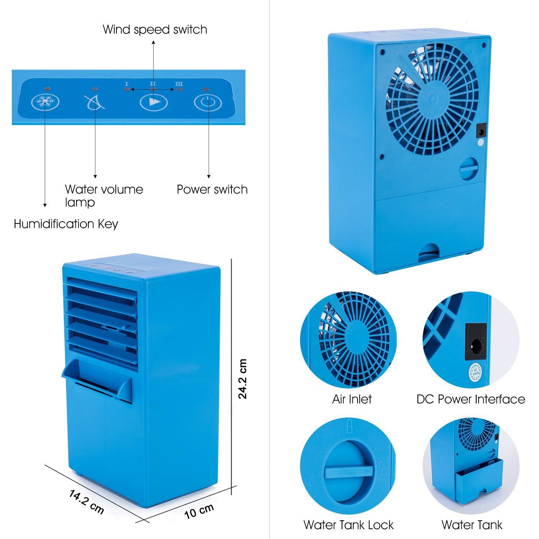 2 en 1 EEIEER Mini Refrigerador de aire Port/átil Personal Ventilador Humidificador para Hogar//Oficina//Sala Aire Acondicionado Ventilador