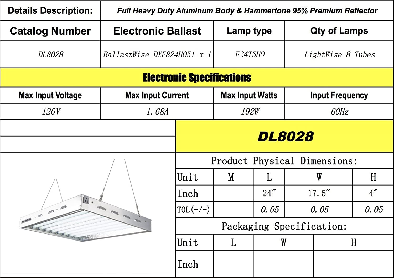Amazon.com : DoubleLux DL8028 T5 Fluorescent 2Ft 8 Lamps w 6500K ... for T5 Tube Light Specification  303mzq