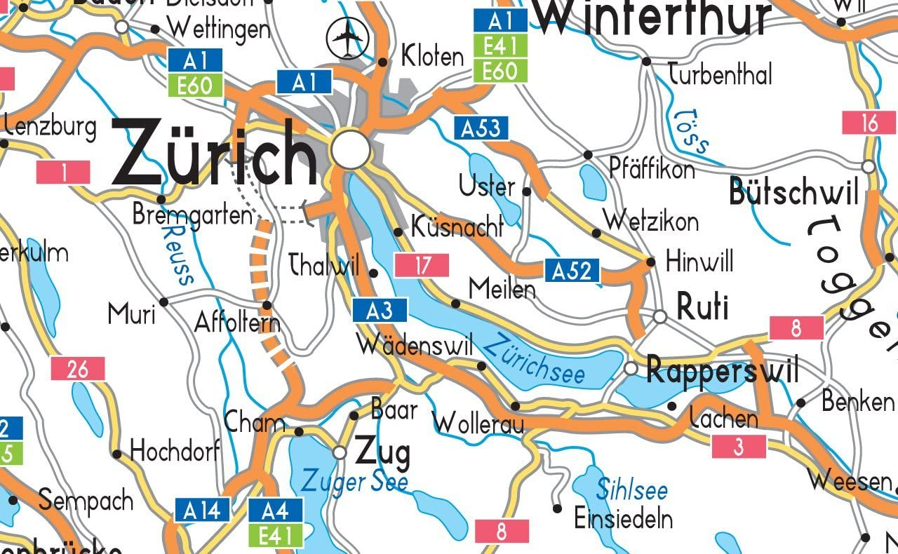 Paper Laminated Switzerland Road Map A2 Size 42 x 59.4 cm