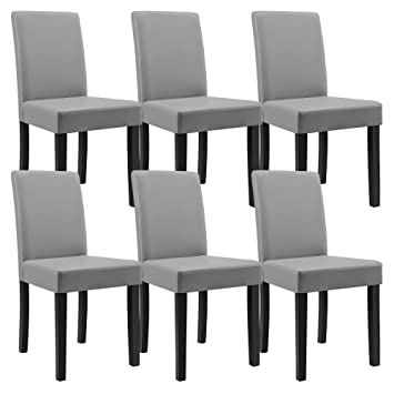 [en.casa]®] 6 sillas tapizadas (Gris Claro) (Alta Calidad) con Patas de Madera Maciza/Piel sintética/Elegante / Set Ahorro