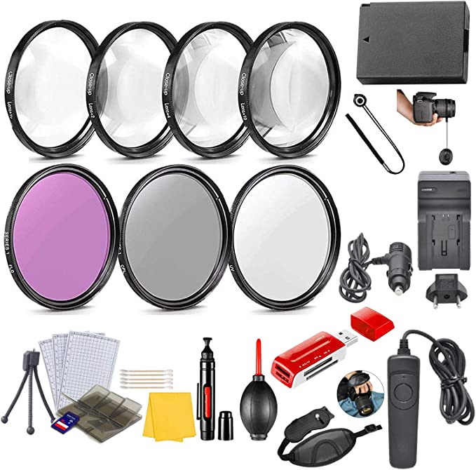 HD Macro Close Ups SL2 250D Remote 200D DSLRs with HD Filters 20 Pcs 58mm Essential Camera Accessory Kit for Canon EOS Rebel SL3 Replacement LP-E17 Battery /& More