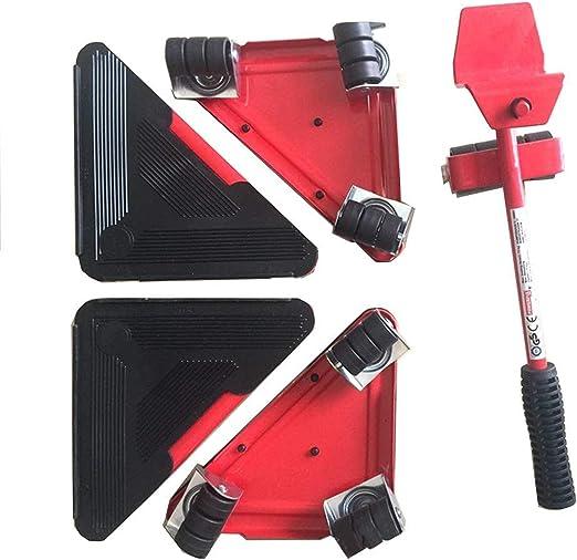 ArkadiaStar Kit para mover muebles pesados de manera f/ácil evitando lesiones en la espalda y lumbar Juego de herramientas Cuida tu salud Red consta de 5 piezas en 3 colores