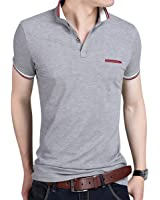 Men's Cotton Classic Fit Striped Decor Short Sleeve Polo T Shirt With Fake Pocket
