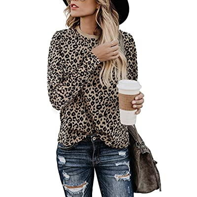 Aifer Women's Casual Tops Leopard Print Shirt Round Neck Long Sleeve T-Shirt Cute Blouse at Amazon Women's Clothing store