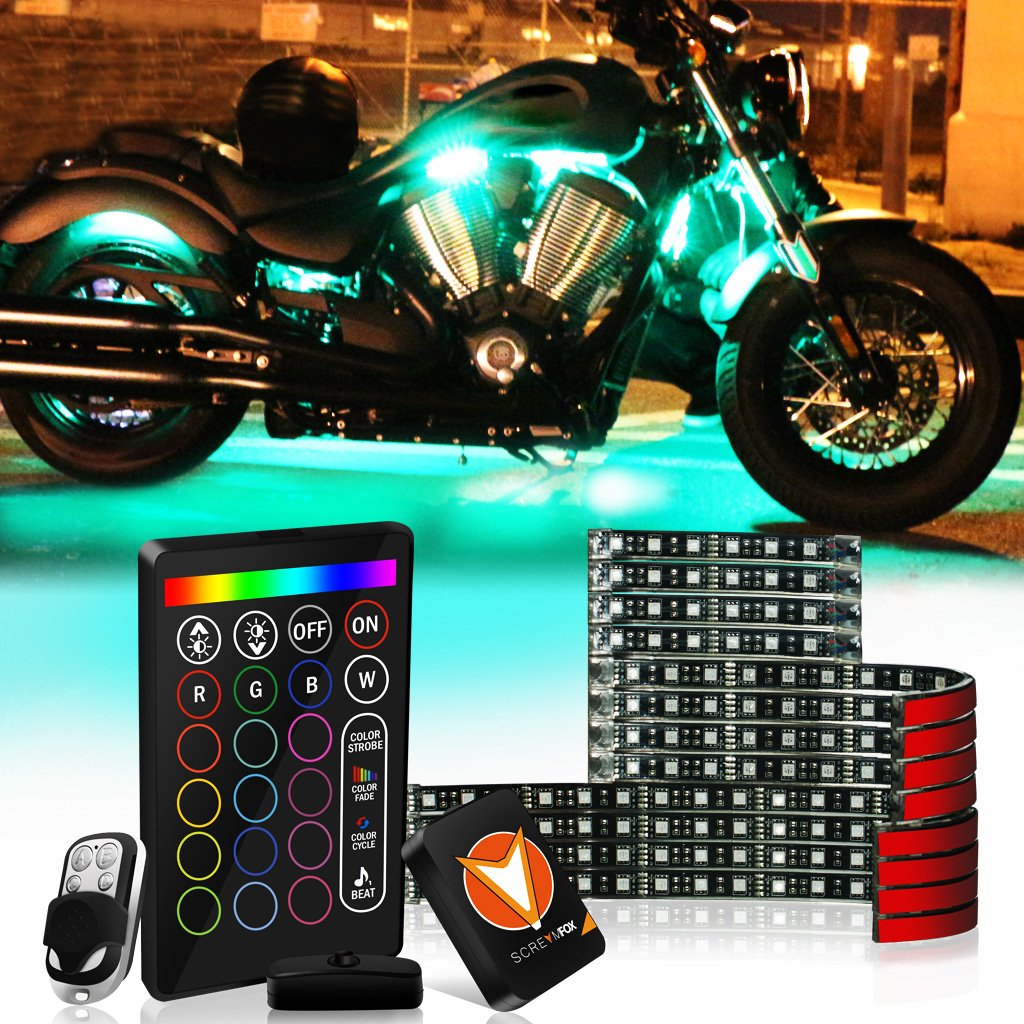 SCREAMFOX 8Pcs Motorcycle LED Light Kit Strips Multi-Color Accent Glow Neon RGB Atmosphere Lights Lamp with Wireless Remote & Keychain Controller w/Switch for Harley Davidson Honda Kawasaki Suzuki BMW