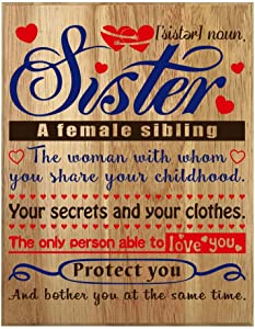 QUMO Sister Gifts from Brother | Plaque | Sister | Wall Art | with Saying | Christmas | Mothers Day | Sign