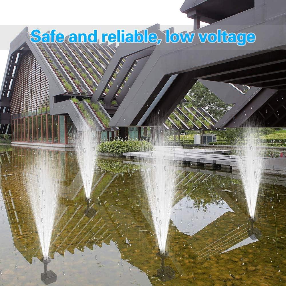 Fontana Solare da Giardino con 6 Ugelli per Fontana Portata Fino a 180L//H per Uccelli Acquario Solare Fontana Pompa Stagno o Decorazione del Giardino Fontana Solare