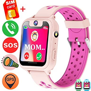 Review 1.54'' Kids Smart Wrist Watch Phone Free SIM (Speedtalk) Card Girls Boys Birthday Gifts GBD GPS Tracker SOS Camera Game Alarm Wearable Touch Bracelet Summer Travel Camping (Pink)