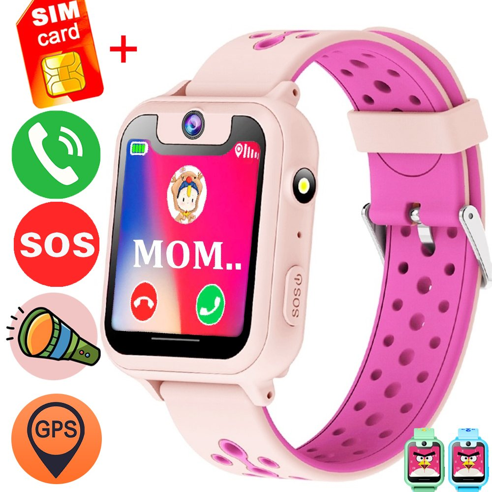 1.54'' Kids Smart Wrist Watch Phone Free SIM (Speedtalk) Card Girls Boys Birthday Gifts GBD GPS Tracker SOS Camera Game Alarm Wearable Touch Bracelet Summer Travel Camping (Pink)