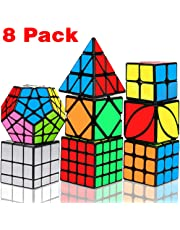 Dreampark Speed Cube Set, Magic Cube Bundle 2x2 3x3 4x4 Pyramid Megaminx Skew Mirror Ivy Sticker Cube Puzzle Collection - Toy Puzzles Cube for Kids and Adults Set of 8