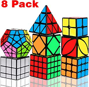 Speed Cube Set, Libay Magic Cube Bundle 2x2 3x3 4x4 Pyramid Megaminx Skew Mirror Ivy Sticker Cube Puzzle Collection - Toy Puzzles Cube for Kids and Adults Set of 8