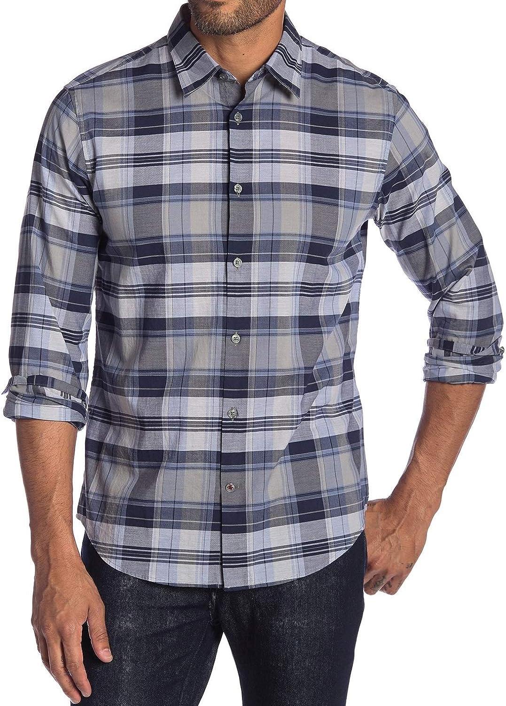John Varvatos Star USA Mens Long Sleeve Plaid Woven Button Front Shirt