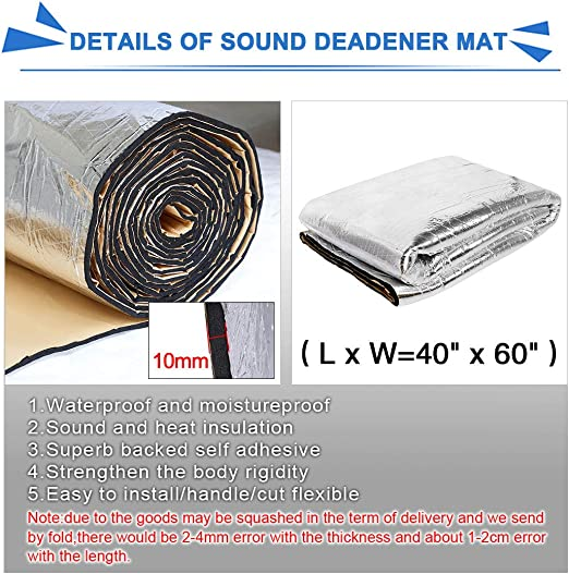 uxcell 10pcs 80mil 25sqft Car Sound Deadener Heat Insulation Mat Pad Damping Self Adhesive Deadening Material Door Roof Floor Sound Barrier