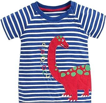 Tarkis Camiseta infantil de algodón a rayas, fuego, dibujos animados, coche para niños, niñas, manga corta, talla