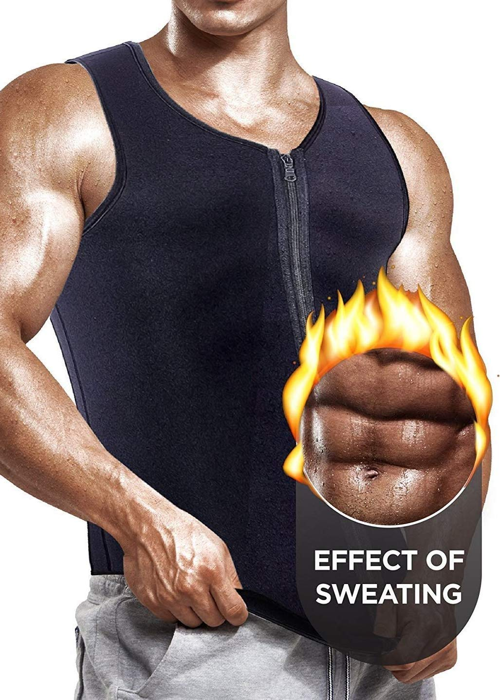 Self Pro Newest Effective Mens Waist Trainer Vest for Weightloss Hot Neoprene Corset Body Shaper Zipper Sauna