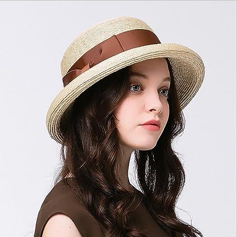 JL Cappello Estivo da Donna Cappello Estivo con Cappello Estivo in Paglia  Cappello da Sole Hepburn 8f674f70b798