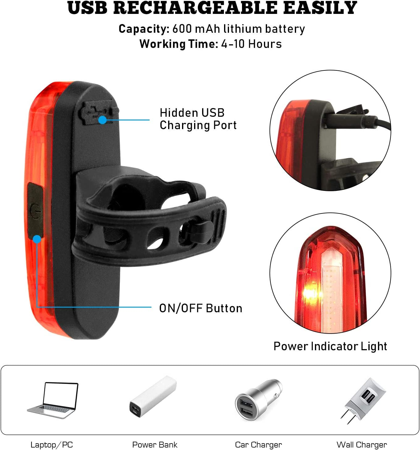 2 Pack Rechargeable Rear Bike Light 6 Modes Up to 10 Hours Autonomy JOFLY 100 Lumen Powerful Bicycle Tail Light LED Red//Blue