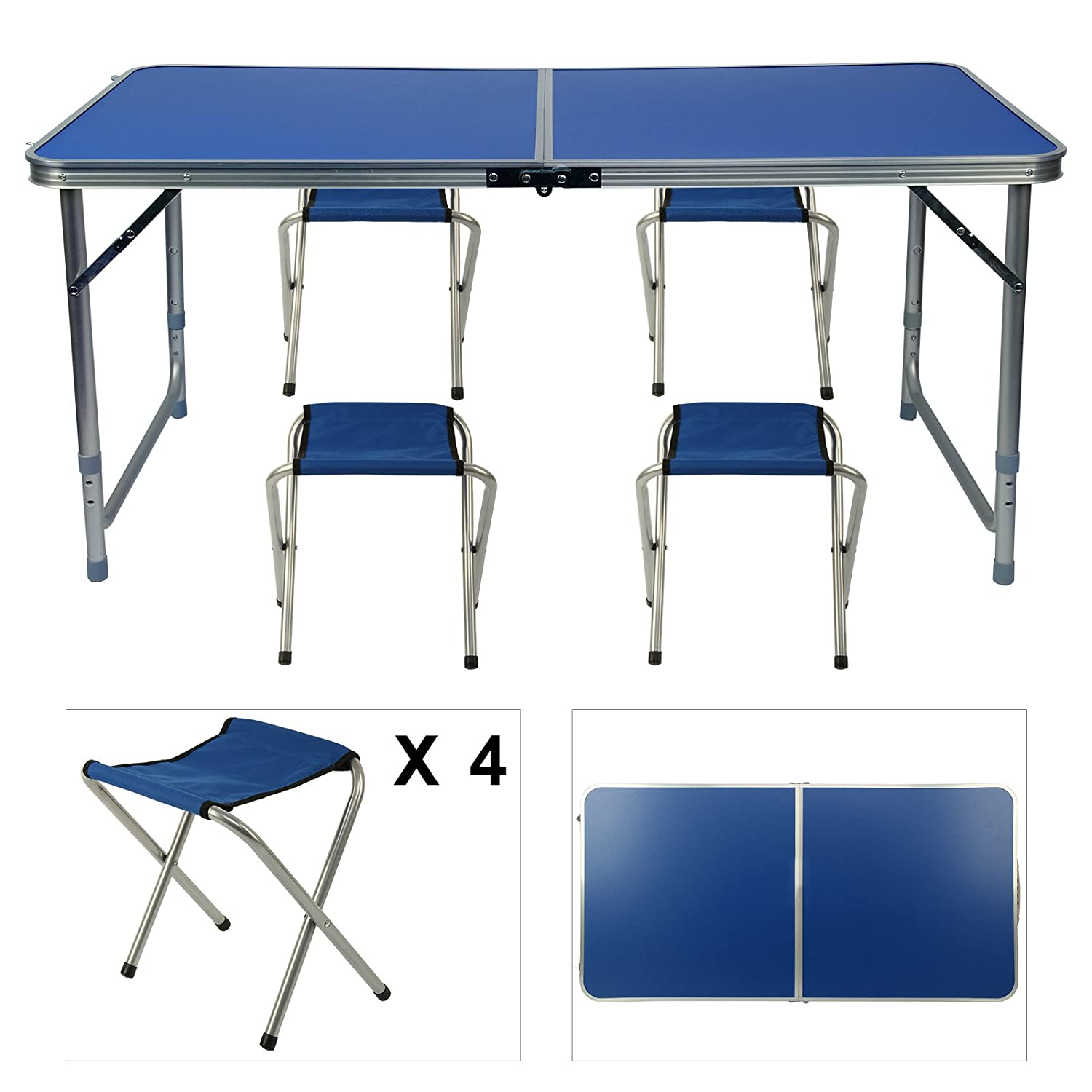 DHOUTDOORS 1.2M Aluminum Folding Table Sets Adjustable Garden Party Kitche Picnic Camping Table and Stool for Indoor Outdoor Activivities oem