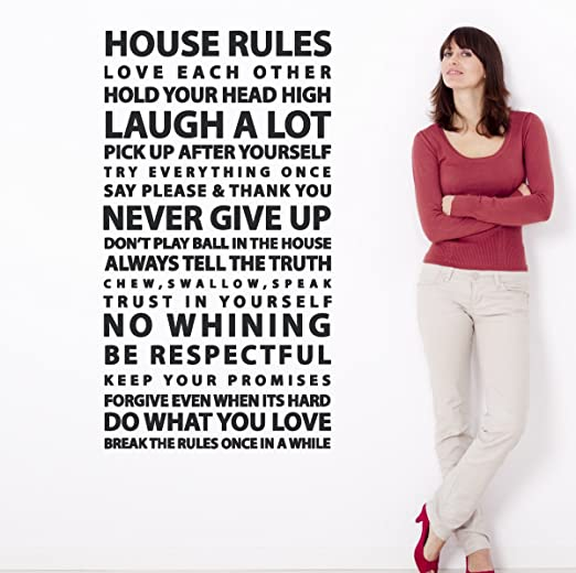 Amazon Com House Rules Sayings Large Wall Decal Easy Application Vinyl Family Art Quote Home Decor Sticker Black 48x26 Inches Home Kitchen