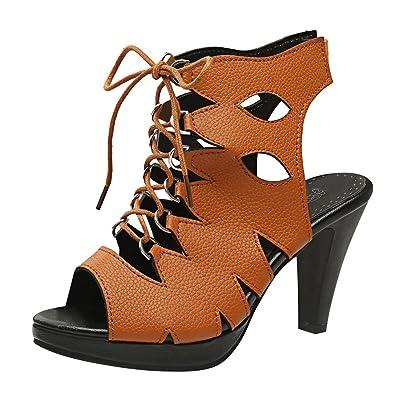 YE Damen Peep Toe Slingback Sandalen High Heels mit
