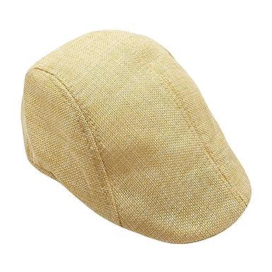 Coppola basco scozzese OULII Cappello berretto piatto in lino unisex  traspirante in Beige  Amazon.it  Abbigliamento 681720e05493