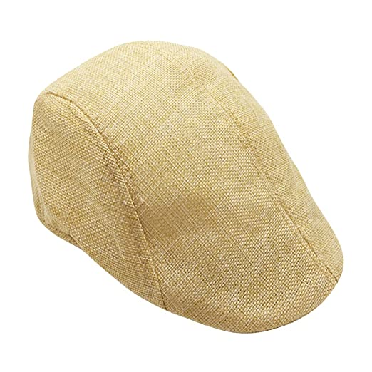 Mens Womens Flax Beret Cap Newsboy Flax Sunscreen Hat Cabbie Driving ... 9d633021bc