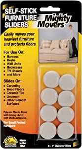 """Restor-It Mighty Movers Self-Stick Furniture Sliders-1"""" Round 8/Pkg"""