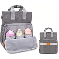 TUMAMA Multifunction Waterproof Diaper Bag Backpack with Changing Pad & Insulated Pockets (Gray)