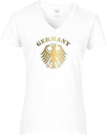 9e9e7a10695685 BlingelingShirts Damen WM Shirt Deutschland Fussball Bundesadler Germany  Schriftzug Deutschland 2018