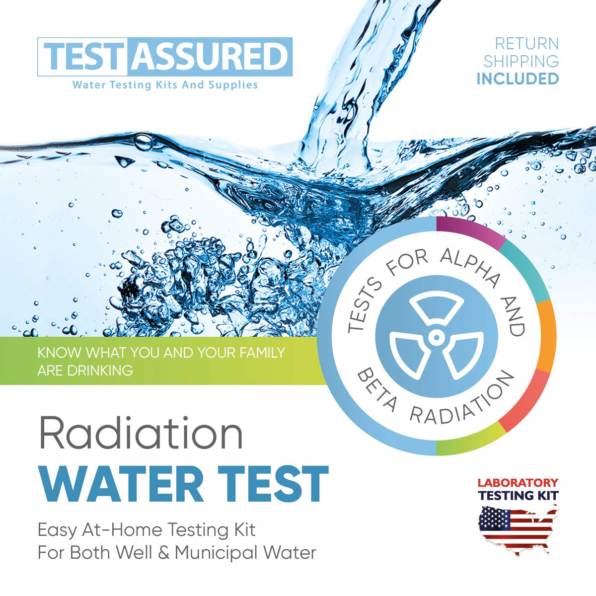 Test Assured Full Water Radiation Test Kit - Easy at-Home Municipal and Well Water Test Kit - Laboratory Testing Kit for Alpha and Beta Radiation by Test Assured