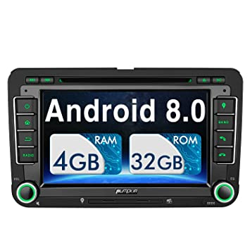 Pumpkin Android 8.0 Autoradio GPS para VW Seat Golf Passat Polo Skoda soporta DVD / Bluetooth