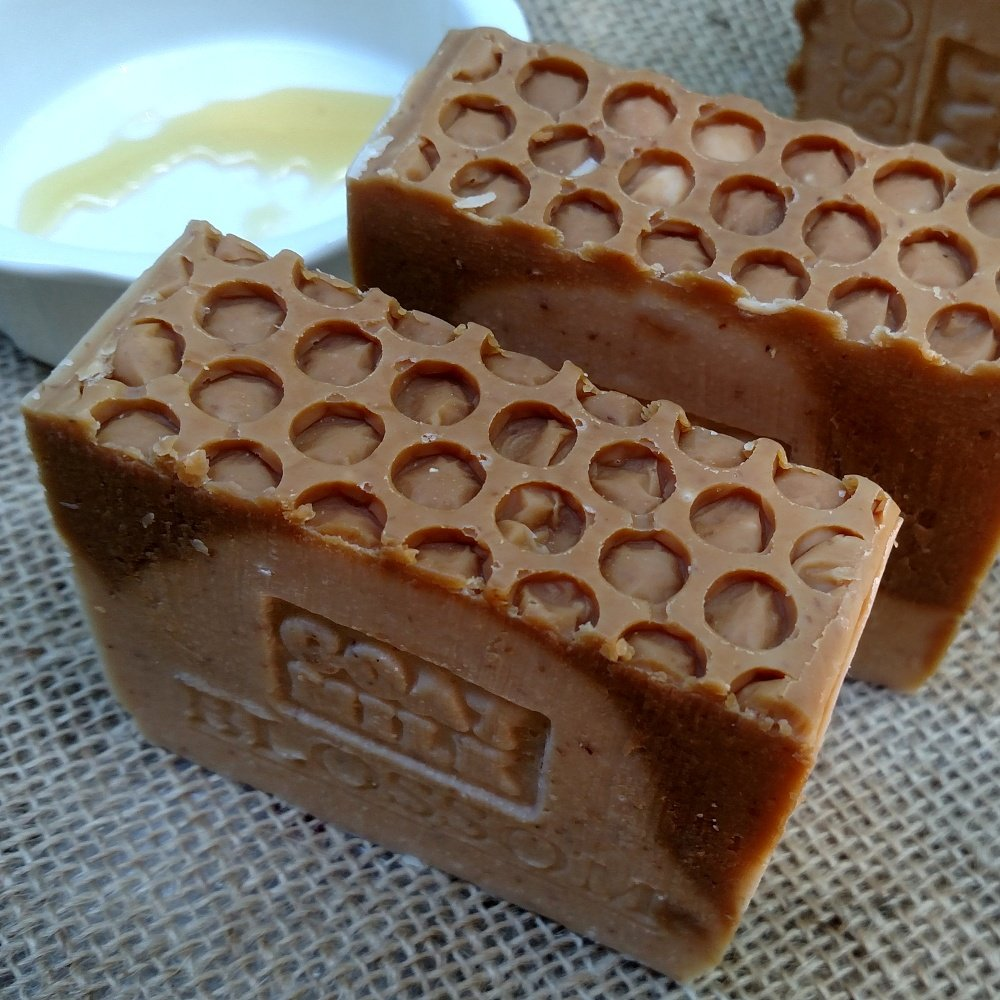 Goat's Milk Soap with Blossom Honey and Oatmeal (Exfoliant) Made with Local Farm Fresh Goat Milk 7 Ounce Bar Skin Care