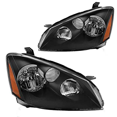 AUTOSAVER88 Headlight Assembly Compatible with 2005 2006 Nissan Altima Replacement Headlamp with H1 Halogen bulb Low Beam, Black Housing Amber Reflector: Automotive