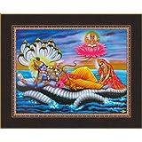 Avercart Lord Vishnu / Shree Vishnu / God Vishnu / Narayana Hari with Laxmiji / Goddess Lakshmi / Vishnu and Laxmi Poster 11x8.5 inch with Photo Frame (28x21 cm framed)