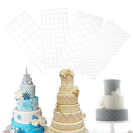 YiZYiF - Molde para decoración de tartas, 4 piezas, plástico transparente, con diseño